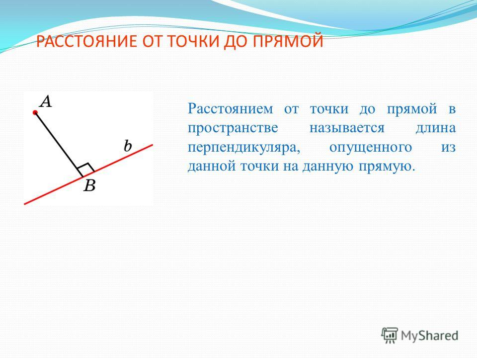 РАССТОЯНИЕ ОТ ТОЧКИ ДО ПРЯМОЙ Расстоянием от точки до прямой в пространстве называется длина перпендикуляра, опущенного из данной точки на данную прямую.