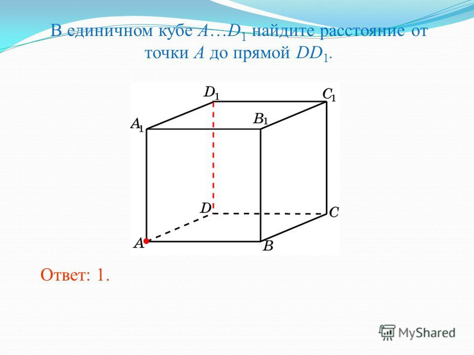 В единичном кубе A…D 1 найдите расстояние от точки A до прямой DD 1. Ответ: 1.