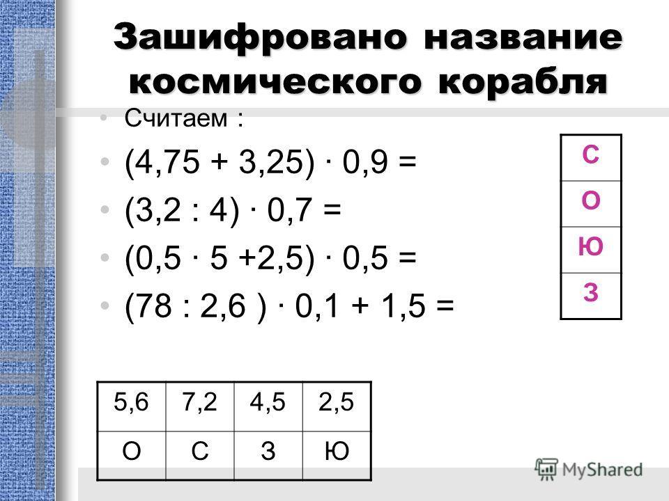 Зашифровано название космического корабля Считаем : (4,75 + 3,25) · 0,9 = (3,2 : 4) · 0,7 = (0,5 · 5 +2,5) · 0,5 = (78 : 2,6 ) · 0,1 + 1,5 = 5,67,24,52,5 ОСЗЮ С О Ю З