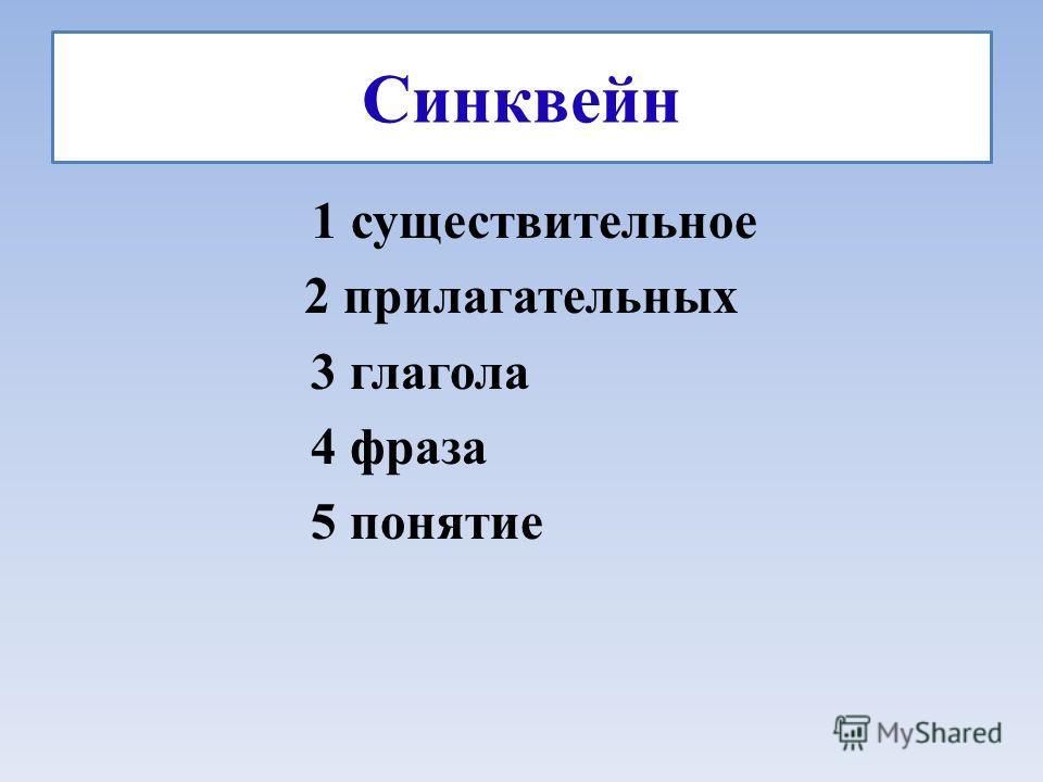 Синквейн 1 существительное 2 прилагательных 3 глагола 4 фраза 5 понятие