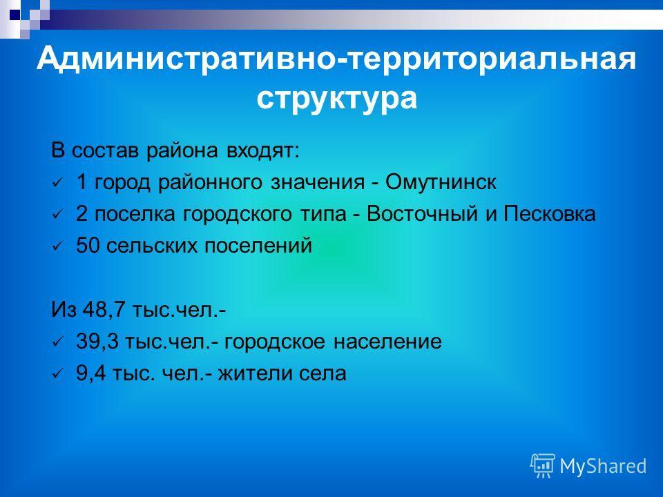 В состав района входят: 1 город районного значения - Омутнинск 2 поселка городского типа - Восточный и Песковка 50 сельских поселений Из 48,7 тыс.чел.- 39,3 тыс.чел.- городское население 9,4 тыс. чел.- жители села Административно-территориальная стру