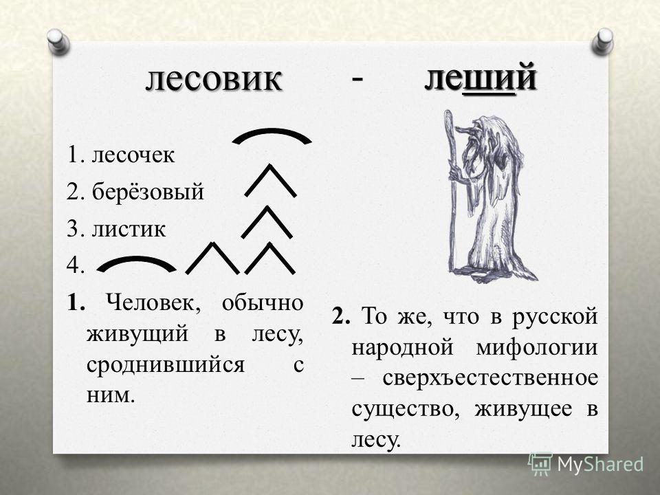 лесовик 1. лесочек 2. берёзовый 3. листик 4. 1. Человек, обычно живущий в лесу, сроднившийся с ним. 2. То же, что в русской народной мифологии – сверхъестественное существо, живущее в лесу. - л леший