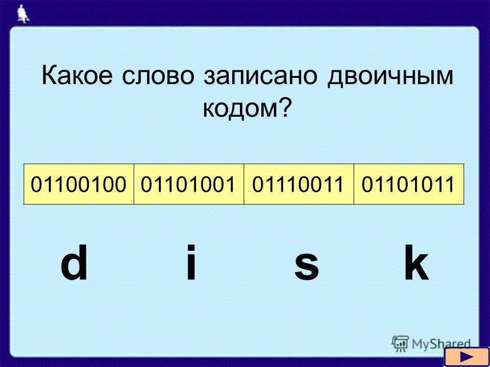 01100100011010010111001101101011 Какое слово записано двоичным кодом? d i s k