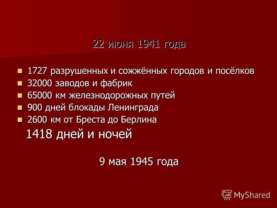 22 июня 1941 года 1727 разрушенных и сожжённых городов и посёлков 1727 разрушенных и сожжённых городов и посёлков 32000 заводов и фабрик 32000 заводов и фабрик 65000 км железнодорожных путей 65000 км железнодорожных путей 900 дней блокады Ленинграда
