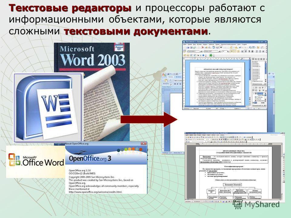 Текстовые редакторы текстовыми документами Текстовые редакторы и процессоры работают с информационными объектами, которые являются сложными текстовыми документами.