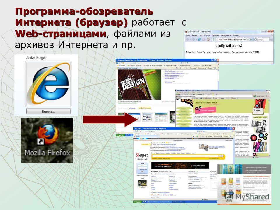 Программа-обозреватель Интернета (браузер) Web-страницами Программа-обозреватель Интернета (браузер) работает с Web-страницами, файлами из архивов Интернета и пр.