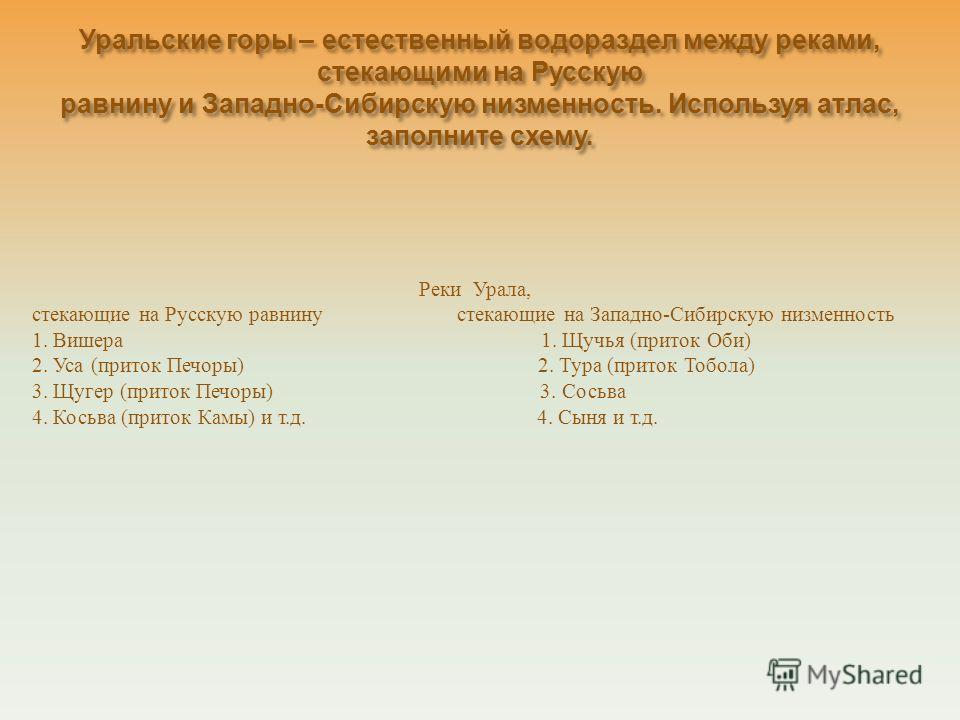 Уральские горы – естественный водораздел между реками, стекающими на Русскую равнину и Западно - Сибирскую низменность. Используя атлас, заполните схему. Реки Урала, стекающие на Русскую равнину стекающие на Западно-Сибирскую низменность 1. Вишера 1.