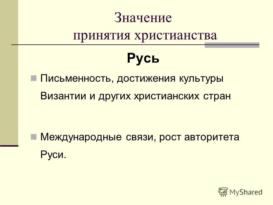 Значение принятия христианства Русь Письменность, достижения культуры Византии и других христианских стран Международные связи, рост авторитета Руси.