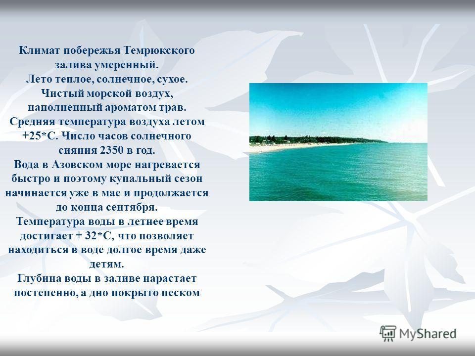 Климат побережья Темрюкского залива умеренный. Лето теплое, солнечное, сухое. Чистый морской воздух, наполненный ароматом трав. Средняя температура воздуха летом +25*С. Число часов солнечного сияния 2350 в год. Вода в Азовском море нагревается быстро