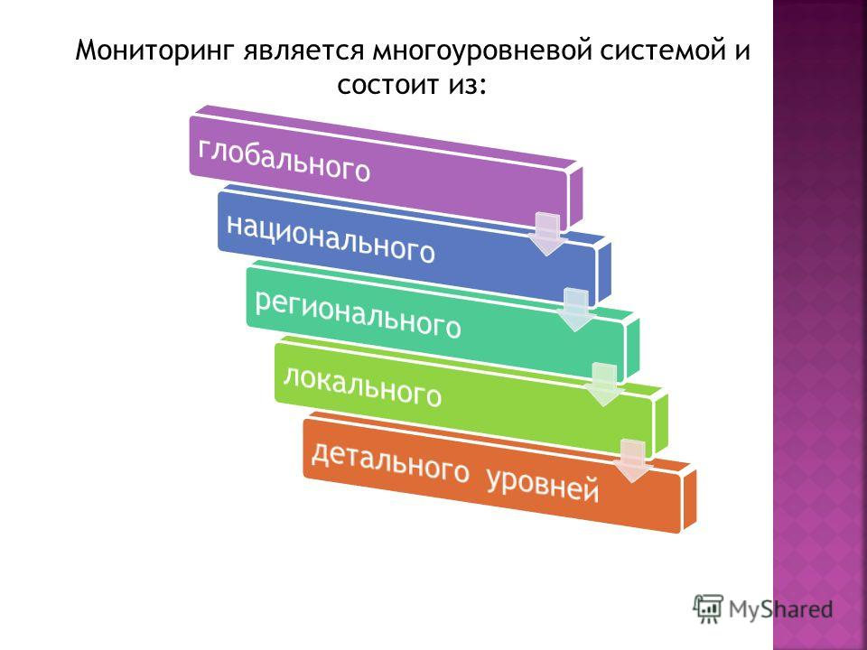 Мониторинг является многоуровневой системой и состоит из: