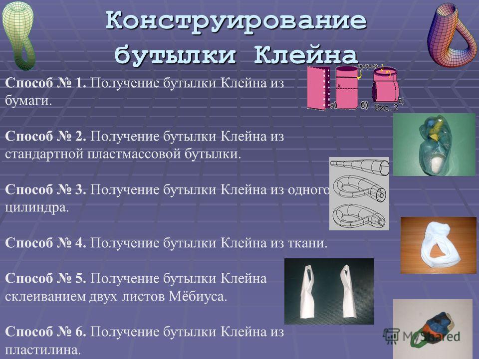 Конструирование бутылки Клейна Способ 1. Получение бутылки Клейна из бумаги. Способ 2. Получение бутылки Клейна из стандартной пластмассовой бутылки. Способ 3. Получение бутылки Клейна из одного цилиндра. Способ 4. Получение бутылки Клейна из ткани.