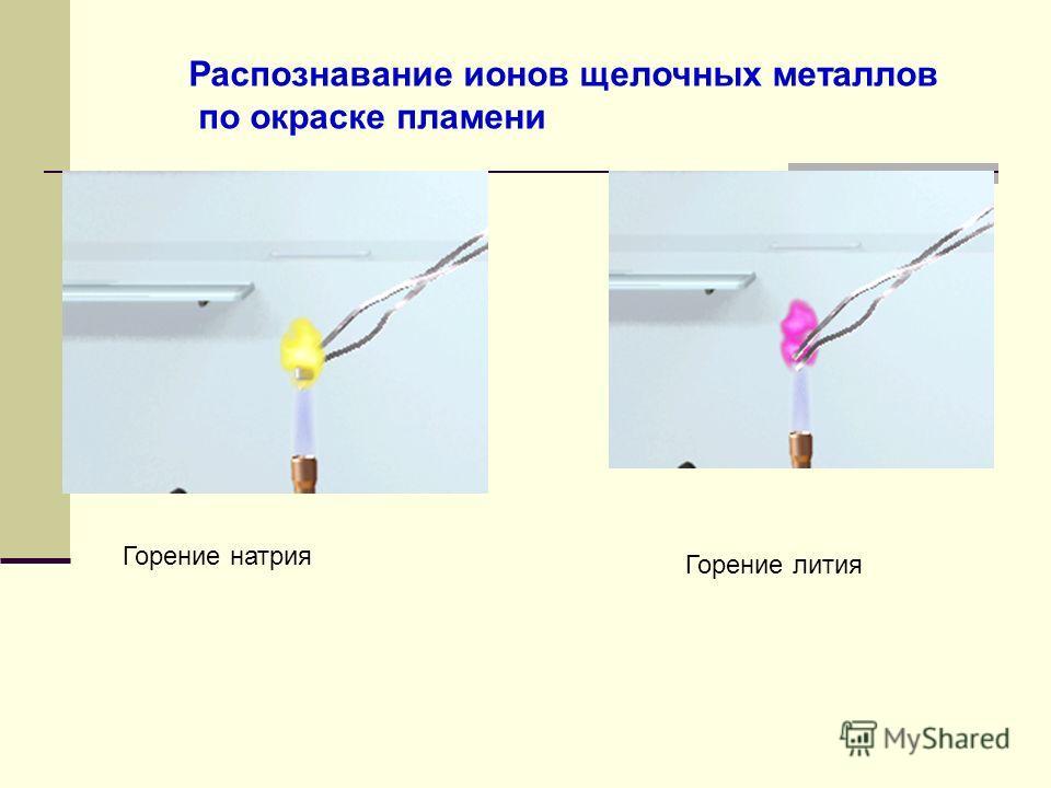 Горение натрия Горение лития Распознавание ионов щелочных металлов по окраске пламени