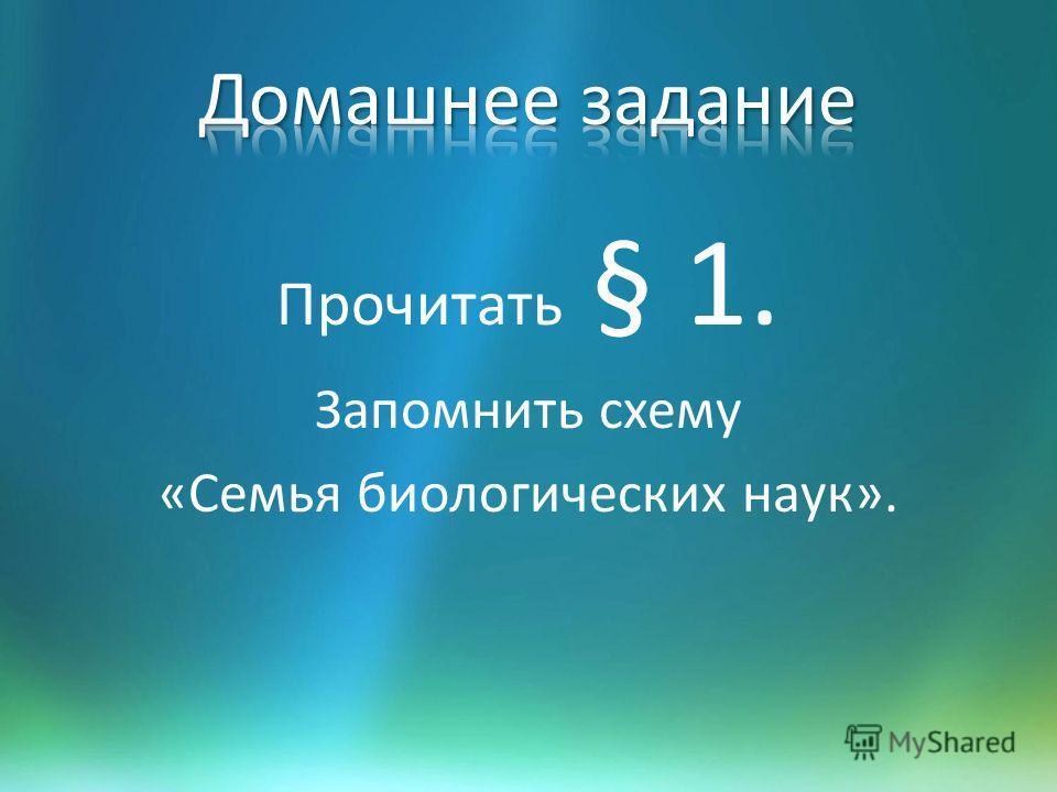 Прочитать § 1. Запомнить схему «Семья биологических наук».