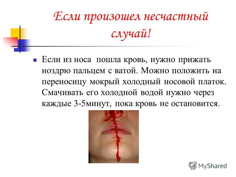 Если произошел несчастный случай! Если из носа пошла кровь, нужно прижать ноздрю пальцем с ватой. Можно положить на переносицу мокрый холодный носовой платок. Смачивать его холодной водой нужно через каждые 3-5минут, пока кровь не остановится.