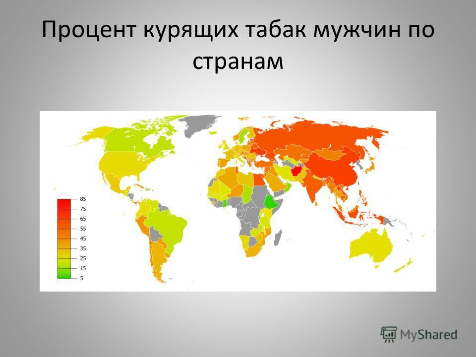 Процент курящих табак мужчин по странам