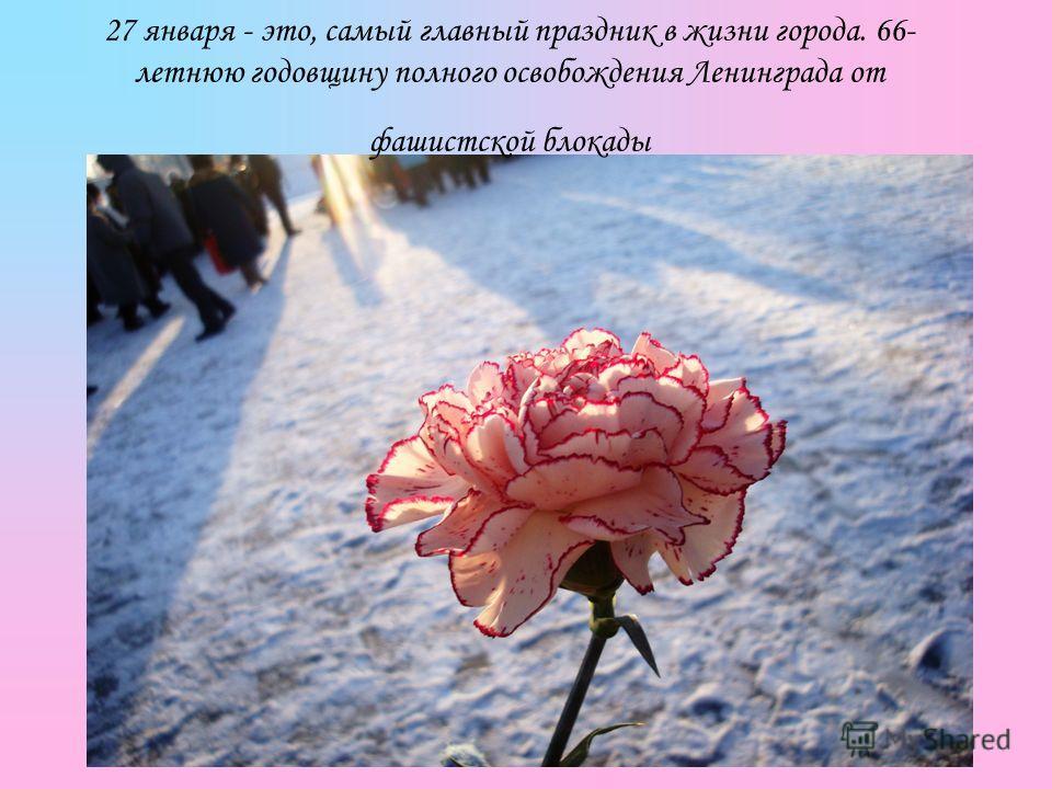 27 января - это, самый главный праздник в жизни города. 66- летнюю годовщину полного освобождения Ленинграда от фашистской блокады