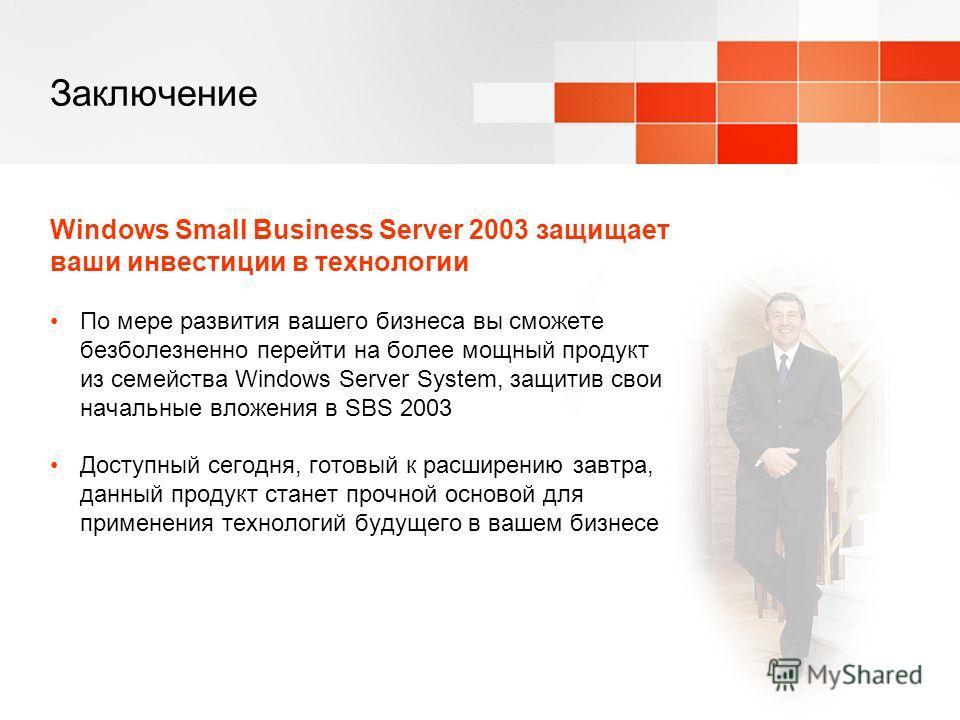 Заключение Windows Small Business Server 2003 защищает ваши инвестиции в технологии По мере развития вашего бизнеса вы сможете безболезненно перейти на более мощный продукт из семейства Windows Server System, защитив свои начальные вложения в SBS 200