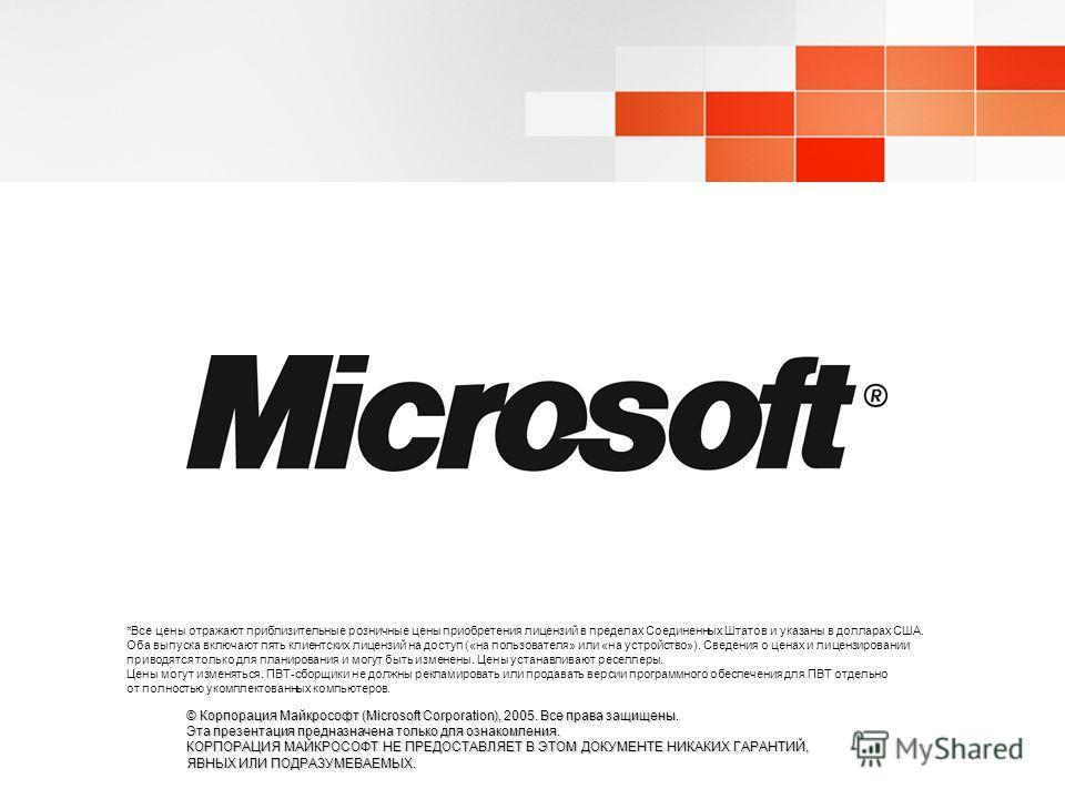 © Корпорация Майкрософт (Microsoft Corporation), 2005. Все права защищены. Эта презентация предназначена только для ознакомления. КОРПОРАЦИЯ МАЙКРОСОФТ НЕ ПРЕДОСТАВЛЯЕТ В ЭТОМ ДОКУМЕНТЕ НИКАКИХ ГАРАНТИЙ, ЯВНЫХ ИЛИ ПОДРАЗУМЕВАЕМЫХ. *Все цены отражают