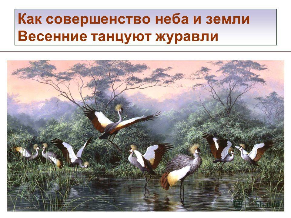 Как совершенство неба и земли Весенние танцуют журавли