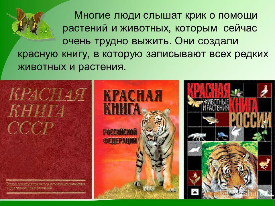 Многие люди слышат крик о помощи растений и животных, которым сейчас очень трудно выжить. Они создали красную книгу, в которую записывают всех редких животных и растения.
