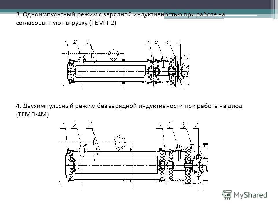 3. Одноимпульсный режим с зарядной индуктивностью при работе на согласованную нагрузку (ТЕМП-2) 4. Двухимпульсный режим без зарядной индуктивности при работе на диод (ТЕМП-4М)