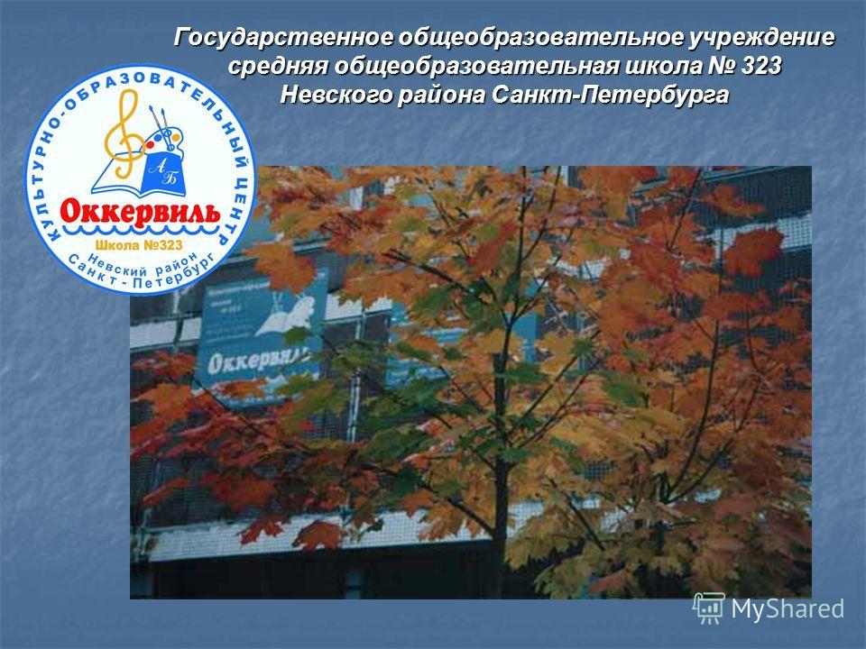 Государственное общеобразовательное учреждение средняя общеобразовательная школа 323 Невского района Санкт-Петербурга