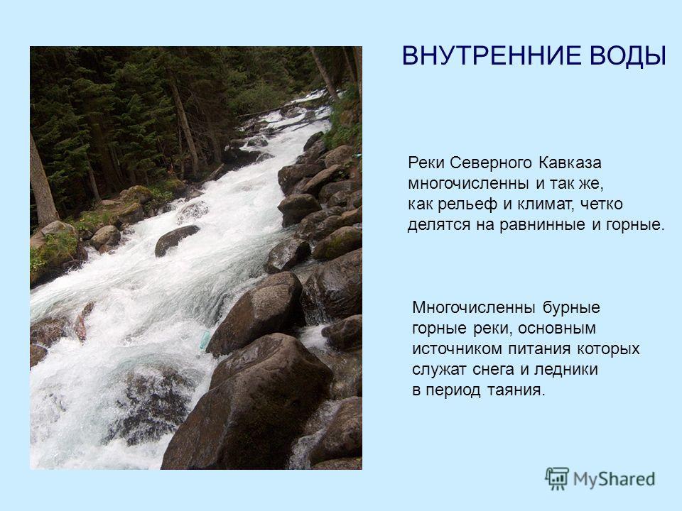 ВНУТРЕННИЕ ВОДЫ Реки Северного Кавказа многочисленны и так же, как рельеф и климат, четко делятся на равнинные и горные. Многочисленны бурные горные реки, основным источником питания которых служат снега и ледники в период таяния.