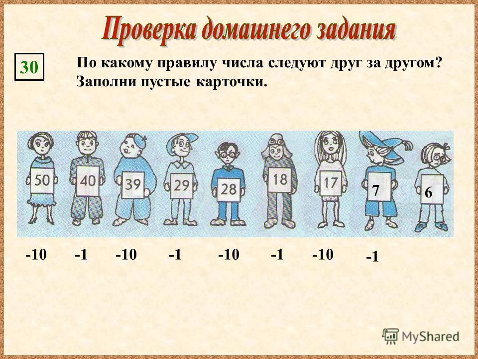 По какому правилу числа следуют друг за другом? Заполни пустые карточки. 30 7 6 -10 -1 -10 -1 -10 -1 -10