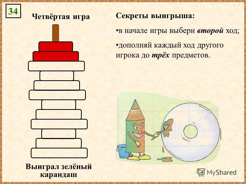 34 Секреты выигрыша: в начале игры выбери второй ход; дополняй каждый ход другого игрока до трёх предметов. Четвёртая игра Выиграл зелёный карандаш