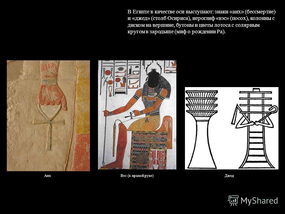 В Египте в качестве оси выступают: знаки «анх» (бессмертие) и «джед» (столб Осириса), иероглиф «вэс» (посох), колонны с диском на вершине, бутоны и цветы лотоса с солярным кругом в зародыше (миф о рождении Ра). ДжедАнхВэс (в правой руке)