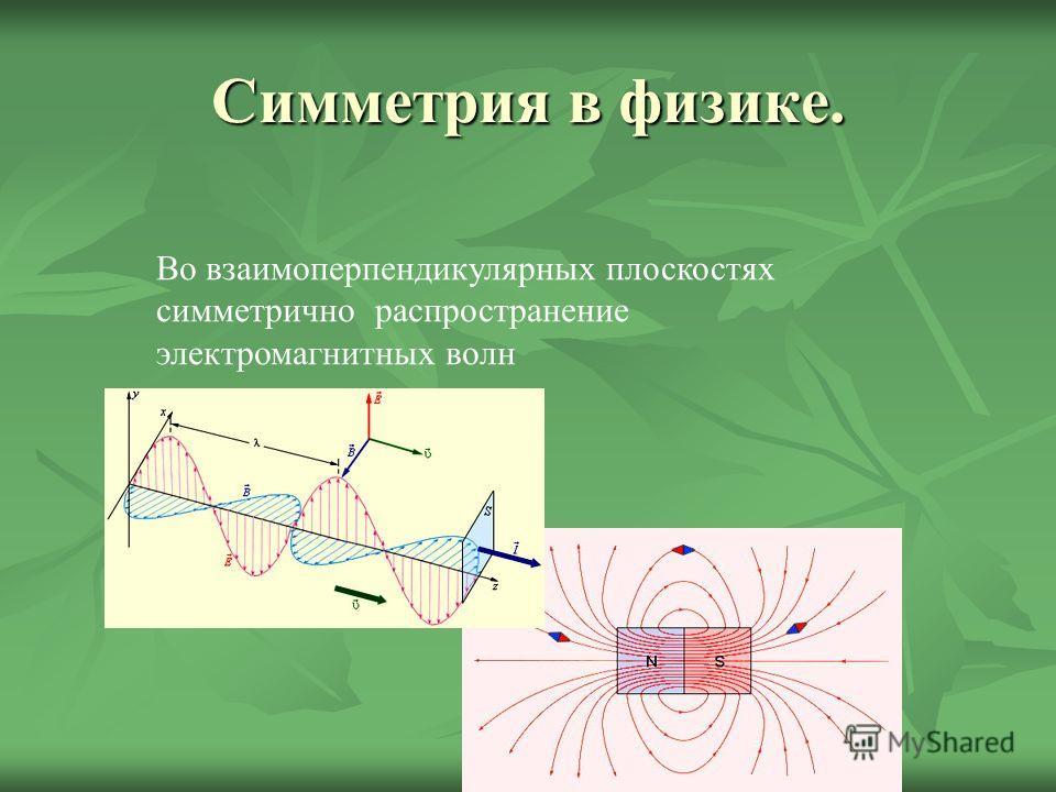 Симметрия в физике. Во взаимоперпендикулярных плоскостях симметрично распространение электромагнитных волн