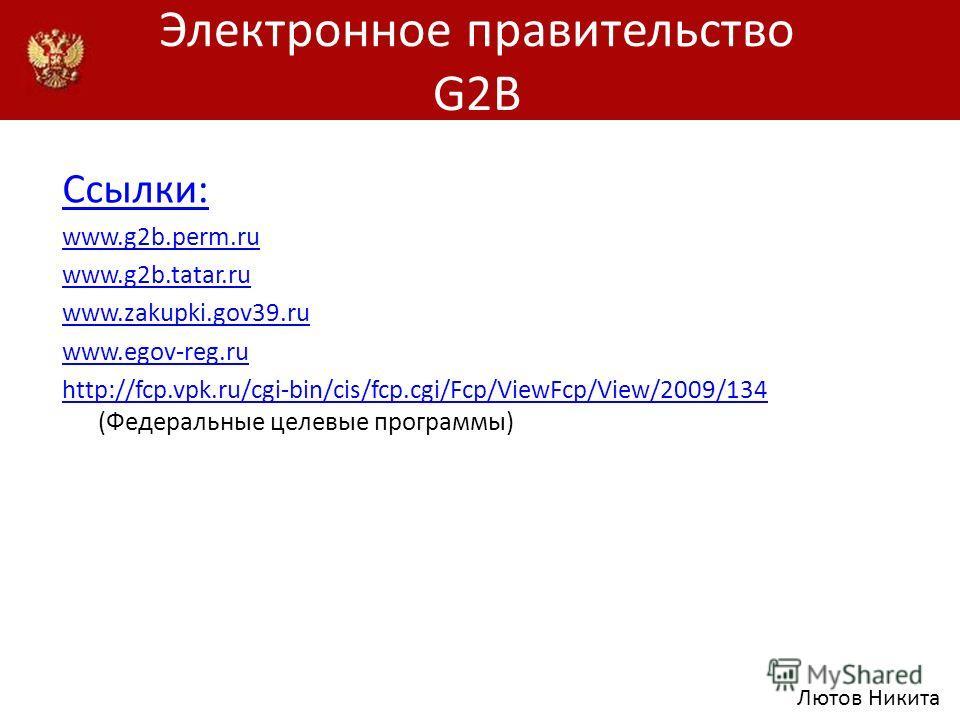 Электронное правительство G2B Ссылки: www.g2b.perm.ru www.g2b.tatar.ru www.zakupki.gov39.ru www.egov-reg.ru http://fcp.vpk.ru/cgi-bin/cis/fcp.cgi/Fcp/ViewFcp/View/2009/134 http://fcp.vpk.ru/cgi-bin/cis/fcp.cgi/Fcp/ViewFcp/View/2009/134 (Федеральные ц