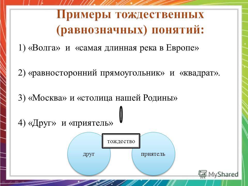 1) «Волга» и «самая длинная река в Европе» 2) «равносторонний прямоугольник» и «квадрат». 3) «Москва» и «столица нашей Родины» 4) «Друг» и «приятель» друг приятель тождество