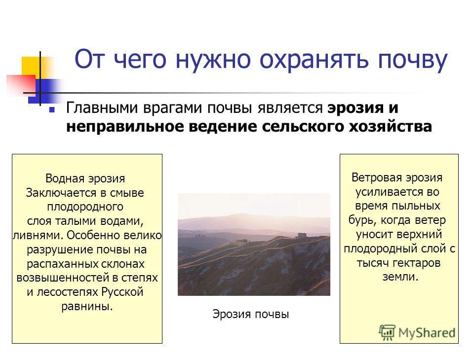 От чего нужно охранять почву Главными врагами почвы является эрозия и неправильное ведение сельского хозяйства Водная эрозия Заключается в смыве плодородного слоя талыми водами, ливнями. Особенно велико разрушение почвы на распаханных склонах возвыше