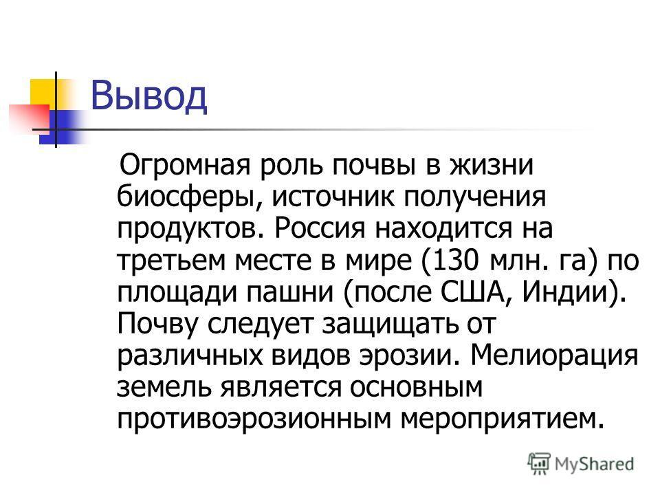 Вывод Огромная роль почвы в жизни биосферы, источник получения продуктов. Россия находится на третьем месте в мире (130 млн. га) по площади пашни (после США, Индии). Почву следует защищать от различных видов эрозии. Мелиорация земель является основны