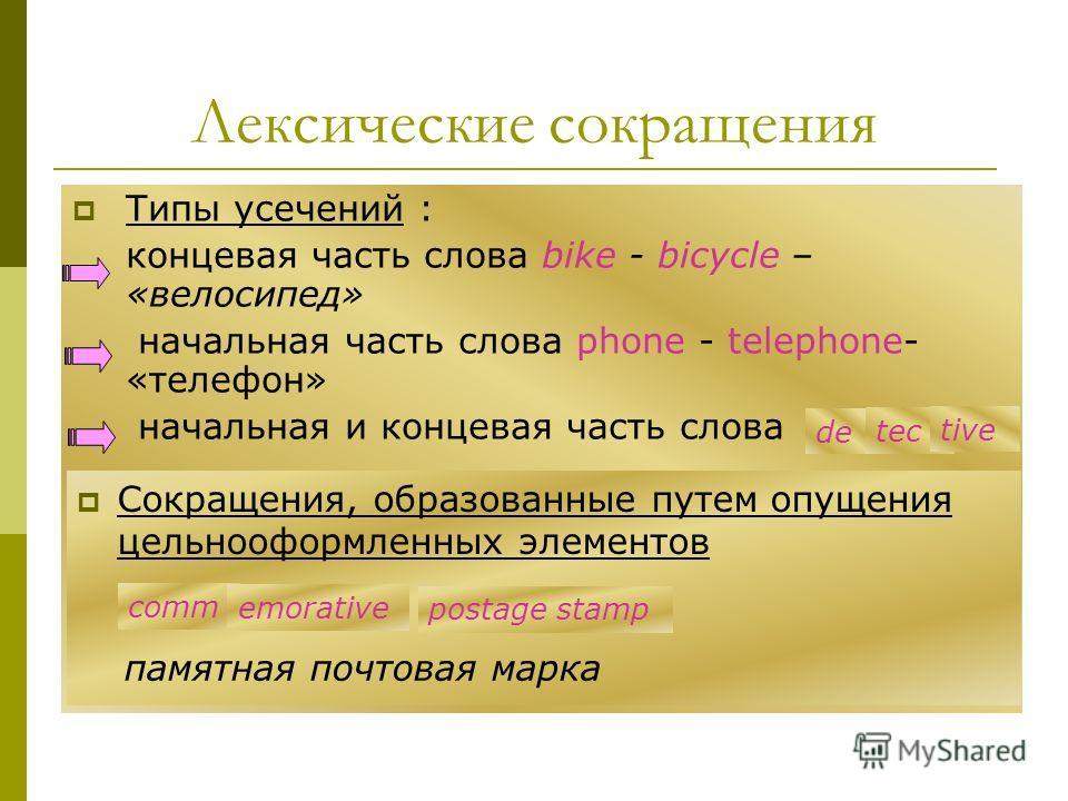 Типы усечений : концевая часть слова bike - bicycle – «велосипед» начальная часть слова phone - telephone- «телефон» начальная и концевая часть слова de tec tive Сокращения, образованные путем опущения цельнооформленных элементов comm emorative posta