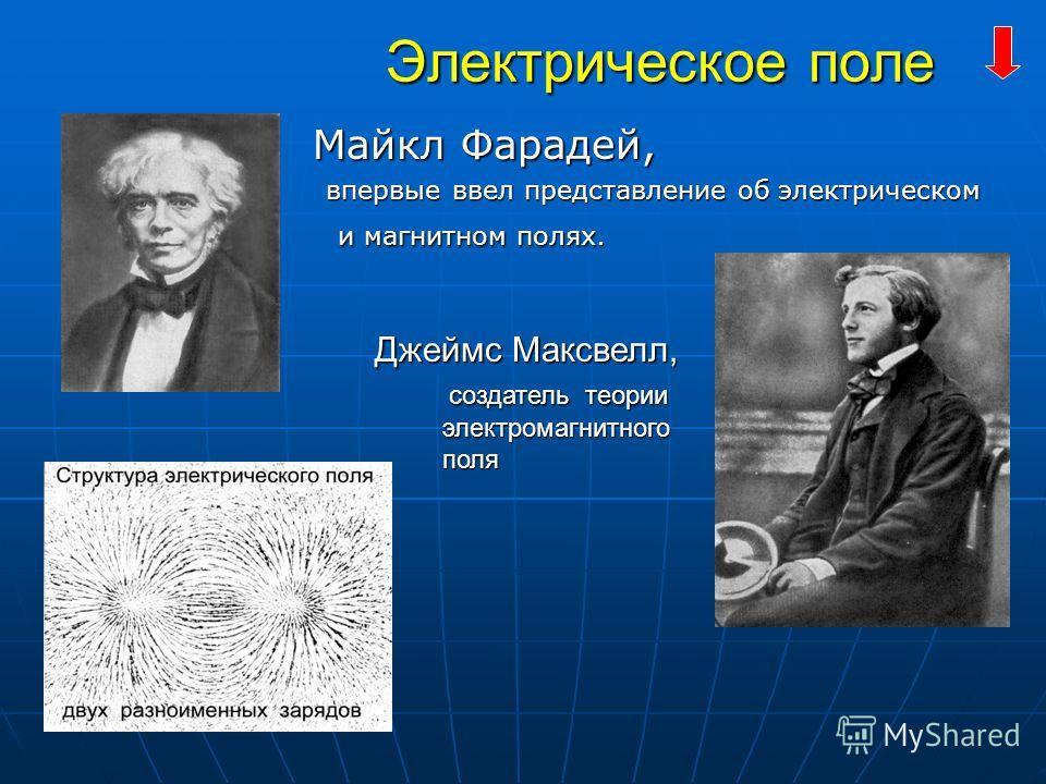 Электрическое поле Электрическое поле Майкл Фарадей, Майкл Фарадей, впервые ввел представление об электрическом и магнитном полях. впервые ввел представление об электрическом и магнитном полях. Джеймс Максвелл, Джеймс Максвелл, создатель теории созда