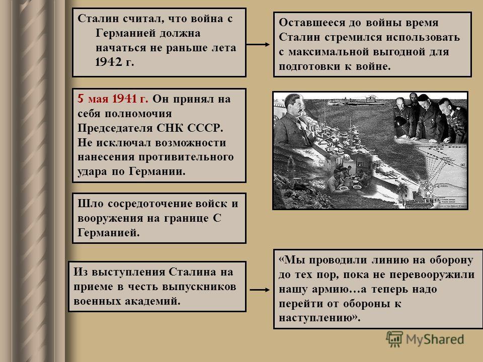 Из выступления Сталина на приеме в честь выпускников военных академий. Сталин считал, что война с Германией должна начаться не раньше лета 1942 г. Оставшееся до войны время Сталин стремился использовать с максимальной выгодной для подготовки к войне.