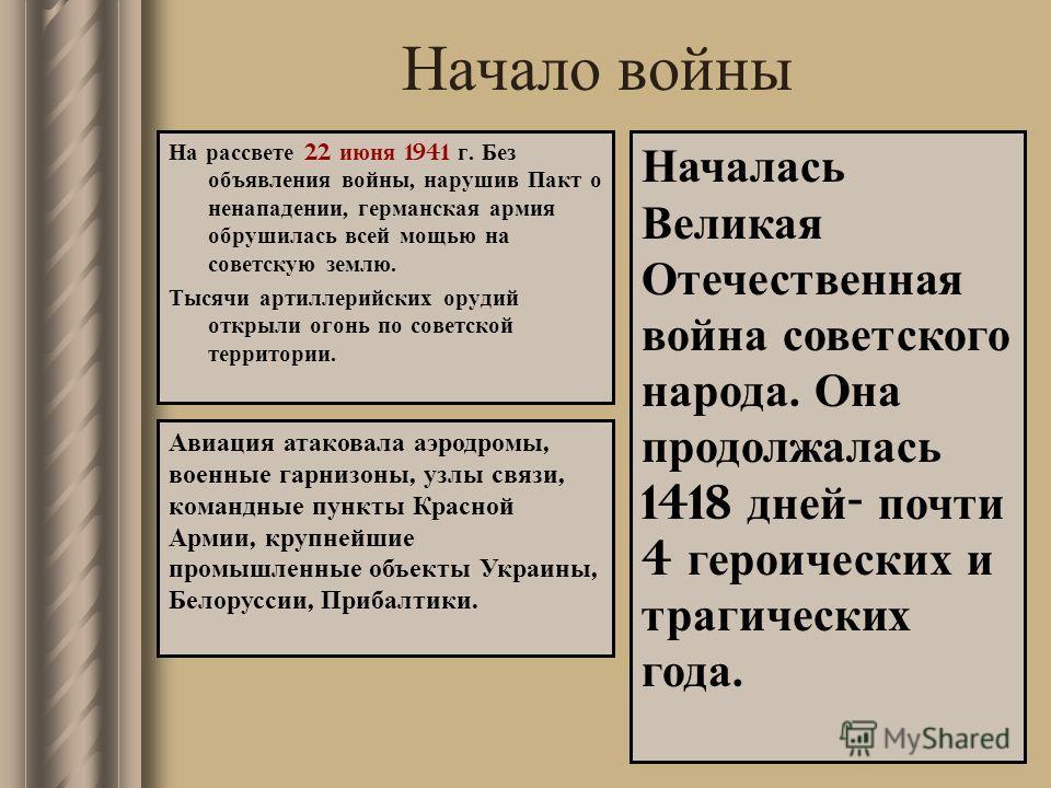 Начало войны На рассвете 22 июня 1941 г. Без объявления войны, нарушив Пакт о ненападении, германская армия обрушилась всей мощью на советскую землю. Тысячи артиллерийских орудий открыли огонь по советской территории. Авиация атаковала аэродромы, вое