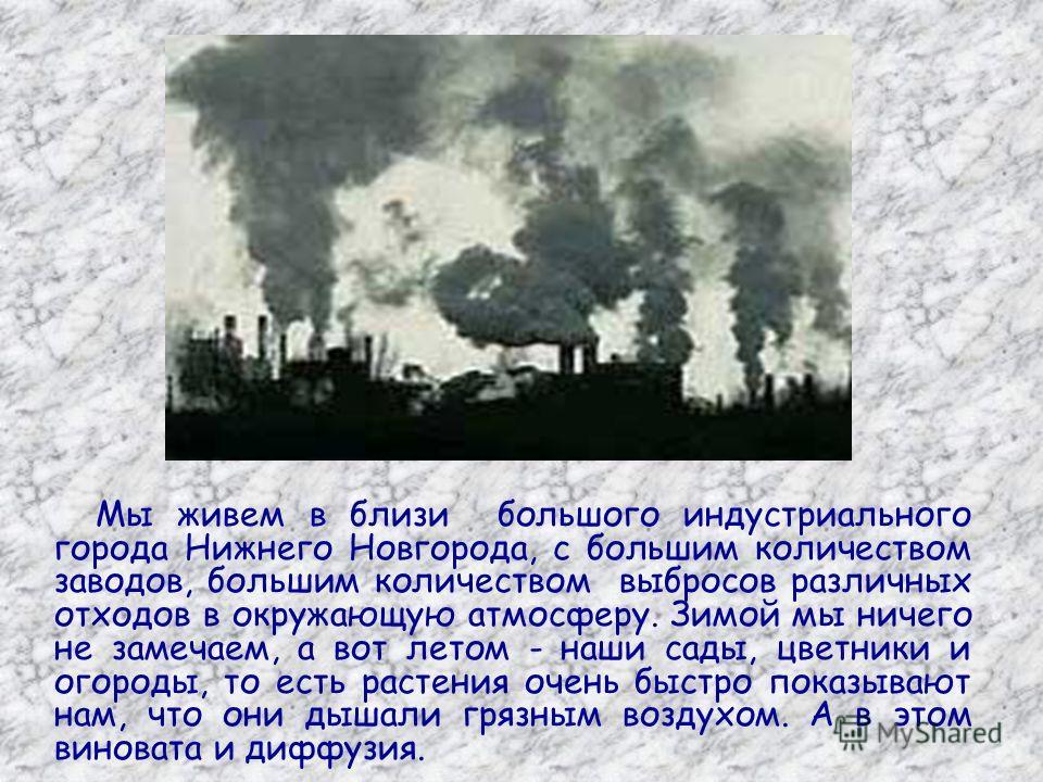 Мы живем в близи большого индустриального города Нижнего Новгорода, с большим количеством заводов, большим количеством выбросов различных отходов в окружающую атмосферу. Зимой мы ничего не замечаем, а вот летом - наши сады, цветники и огороды, то ест