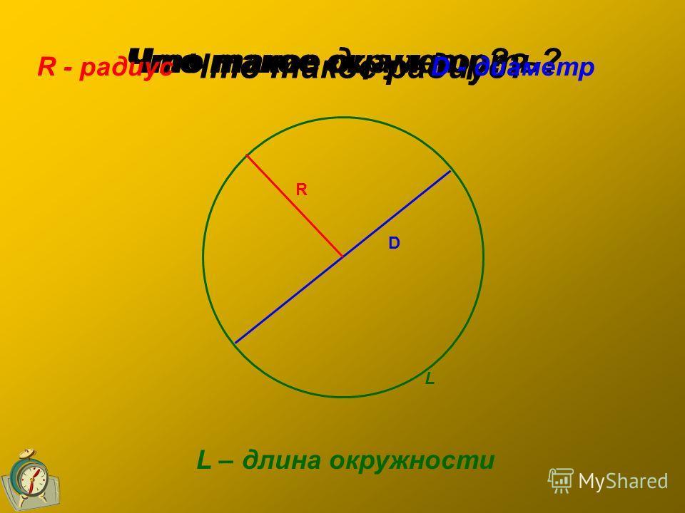 Что такое окружность? Что такое радиус? Что такое диаметр? R - радиусD - диаметр L – длина окружности R D L