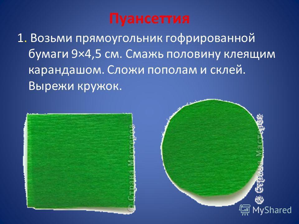 Пуансеттия 1. Возьми прямоугольник гофрированной бумаги 9×4,5 см. Смажь половину клеящим карандашом. Сложи пополам и склей. Вырежи кружок.