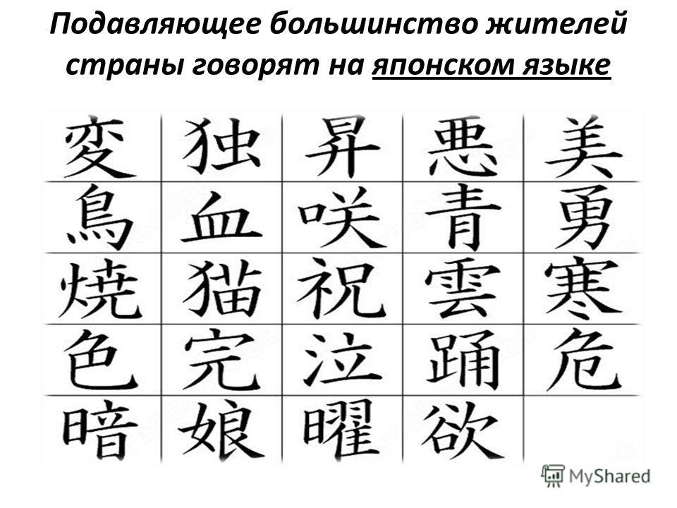 Подавляющее большинство жителей страны говорят на японском языке