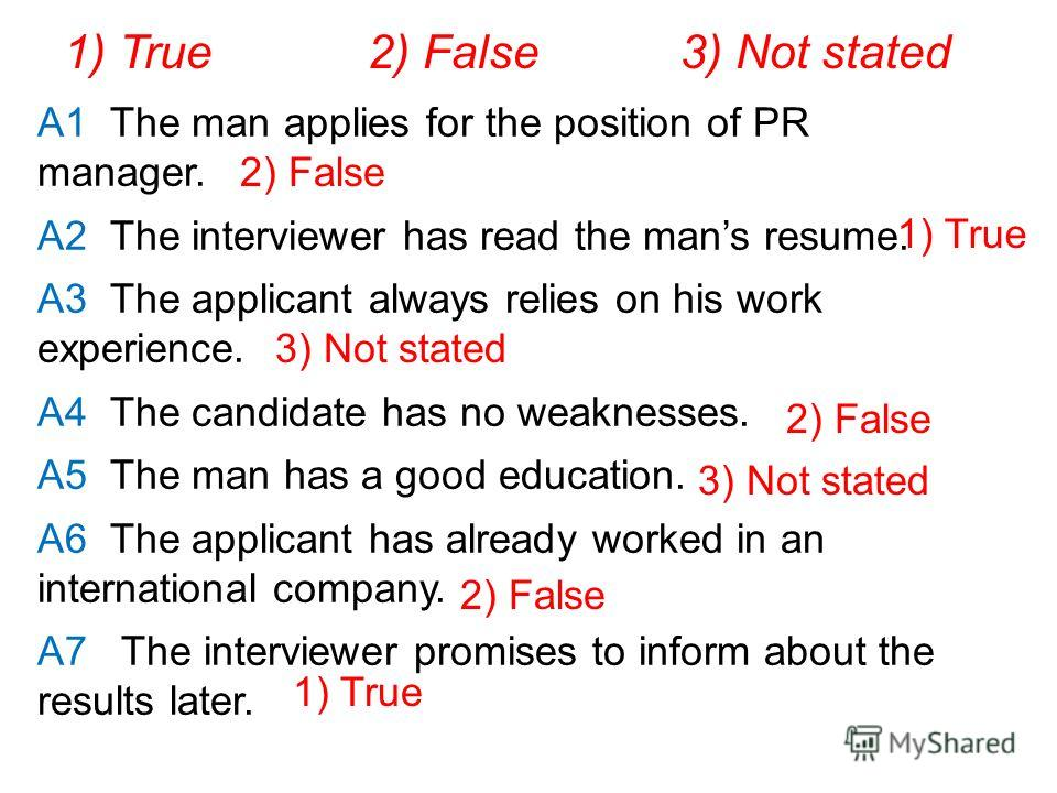 A1 The man applies for the position of PR manager. A2 The interviewer has read the mans resume. A3 The applicant always relies on his work experience. A4 The candidate has no weaknesses. A5 The man has a good education. A6 The applicant has already w