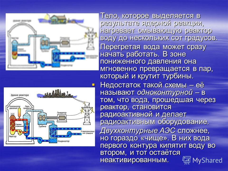 Тело, которое выделяется в результате ядерной реакции, нагревает омывающую реактор воду до нескольких сот градусов. Тело, которое выделяется в результате ядерной реакции, нагревает омывающую реактор воду до нескольких сот градусов. Перегретая вода мо