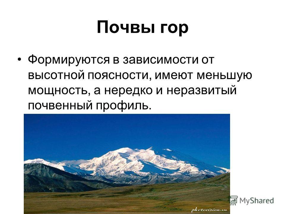 Почвы гор Формируются в зависимости от высотной поясности, имеют меньшую мощность, а нередко и неразвитый почвенный профиль.