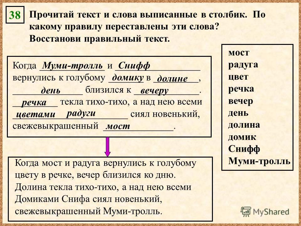 38 Прочитай текст и слова выписанные в столбик. По какому правилу переставлены эти слова? Восстанови правильный текст. Когда _____________ и _________________ вернулись к голубому _______ в _________, ______________ близился к _____________. ________