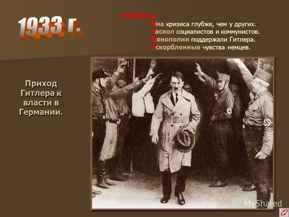 Приход Гитлера к власти в Германии. Приход Гитлера к власти в Германии. ПРИЧИНЫ: Яма кризиса глубже, чем у других. Раскол социалистов и коммунистов. Монополии поддержали Гитлера. Оскорбленные чувства немцев.