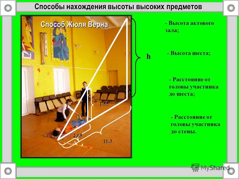 Способы нахождения высоты высоких предметов h 1,55 h - Высота актового зала; - Высота шеста; 2,65 - Расстояние от головы участника до шеста; 11,3 - Расстояние от головы участника до стены. Способ Жюля Верна
