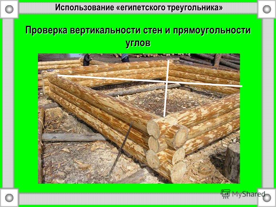 Проверка вертикальности стен и прямоугольности углов Использование «египетского треугольника»